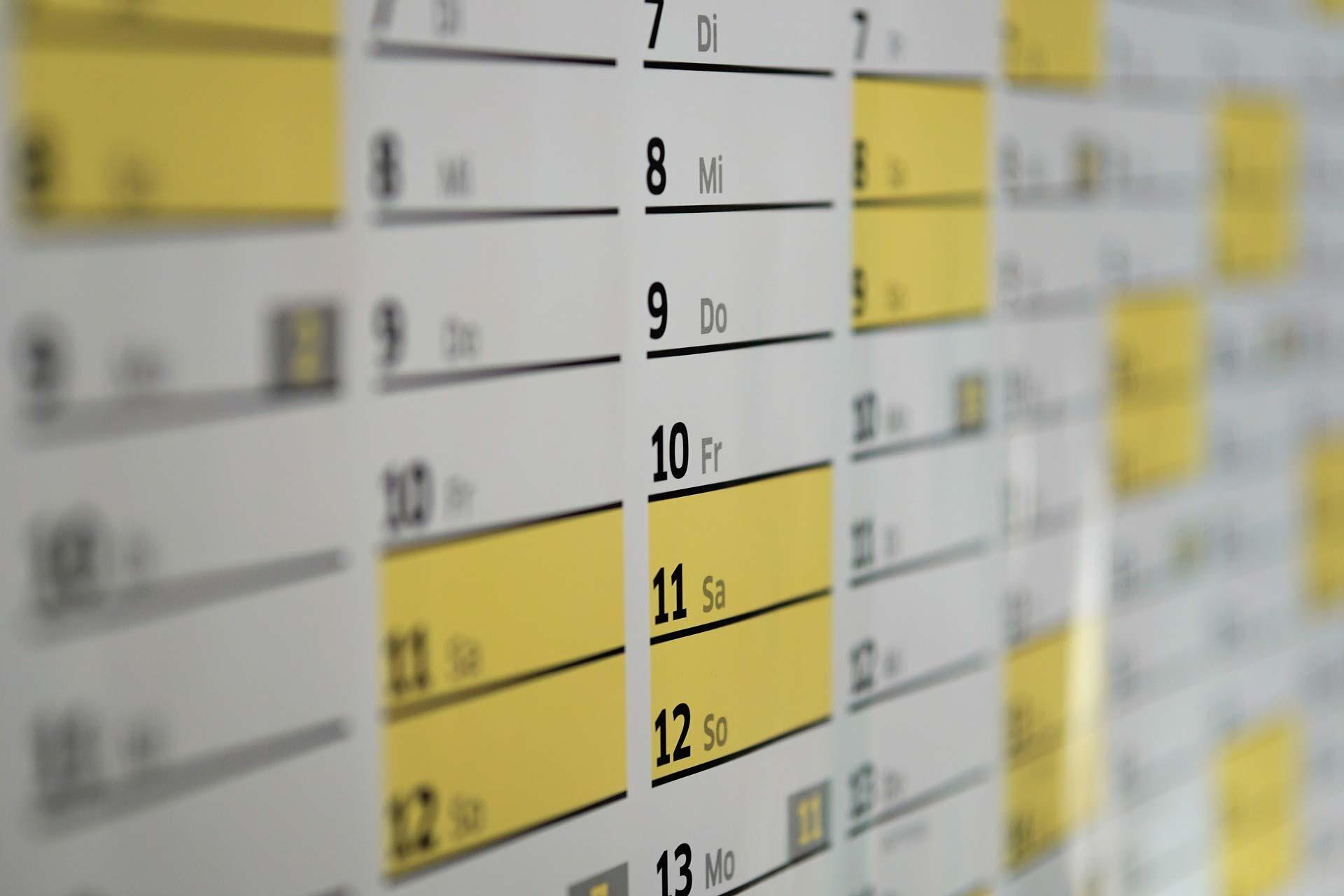 School terms calendar