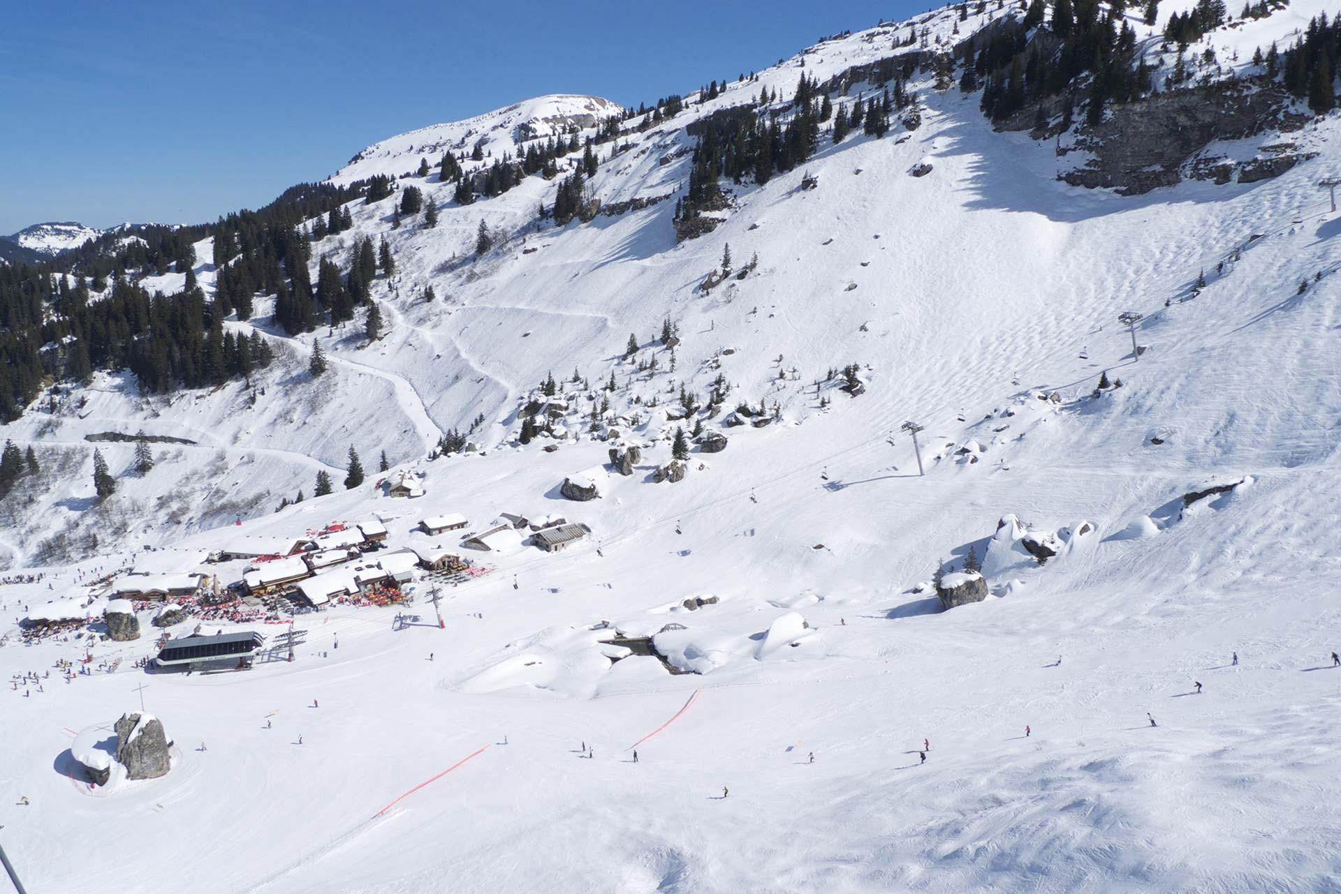 Op het skigebied