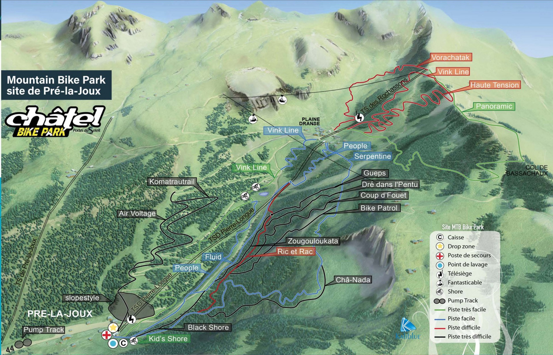 Map of the Châtel Bike Park