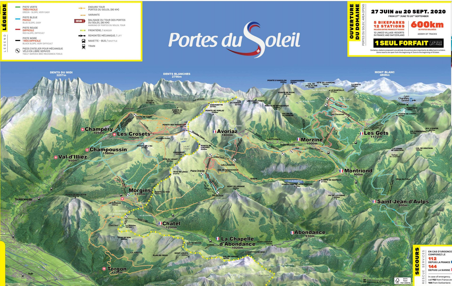 Map of the MTB circuits in the Portes du Soleil